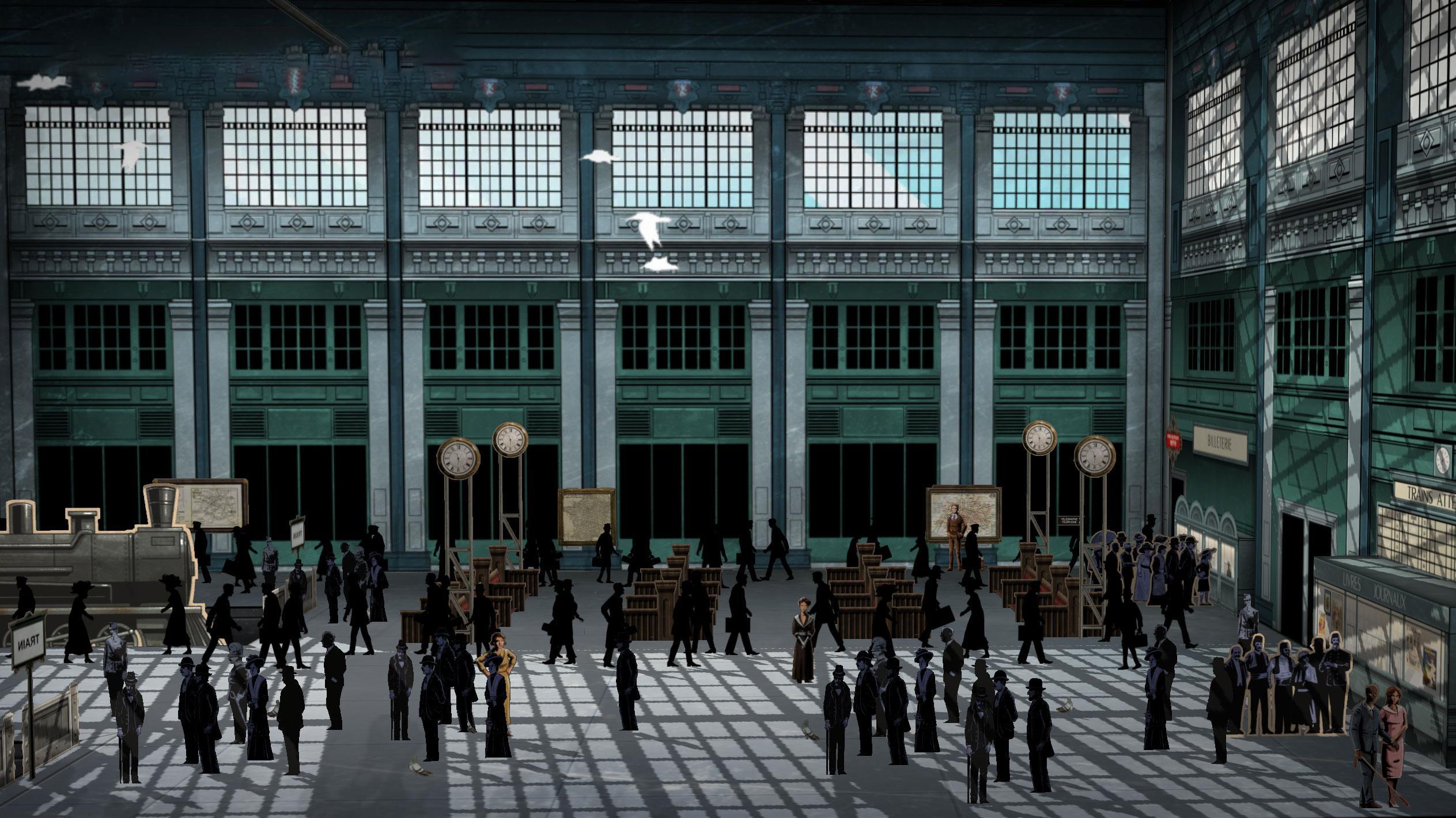 Une image de l'appli Apocalypse 10 Destins RA : Des gens dans une gare de trains.