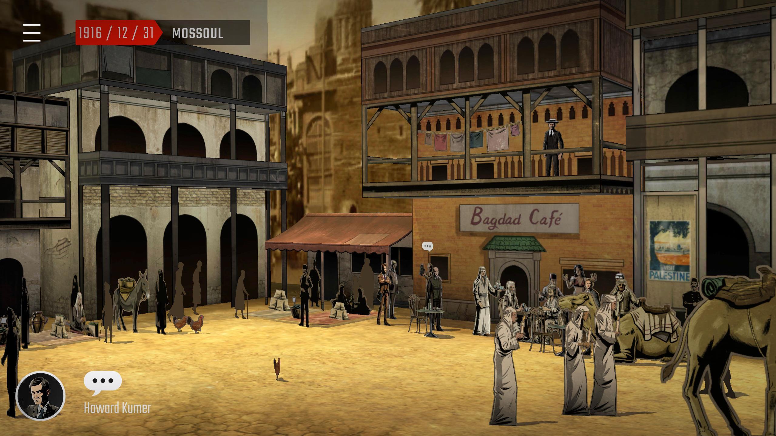Une image de l'appli Apocalypse 10 Destins RA : Des gens dans une rue de Mossoul en 1916.