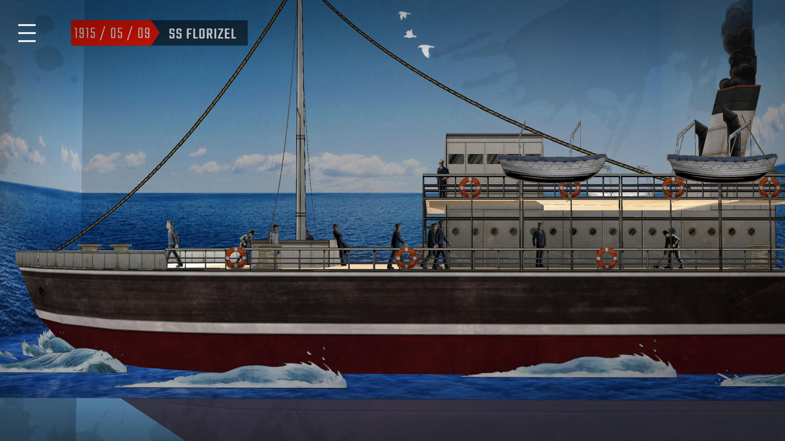 Une image de l'appli Apocalypse 10 Destins RA : Le bateau SS Florizel, 1915.