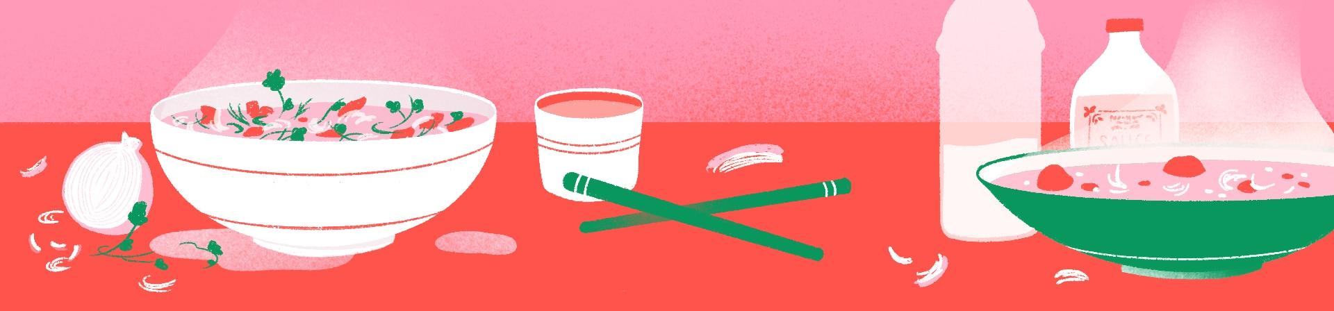 Illustration de soupes Phô.