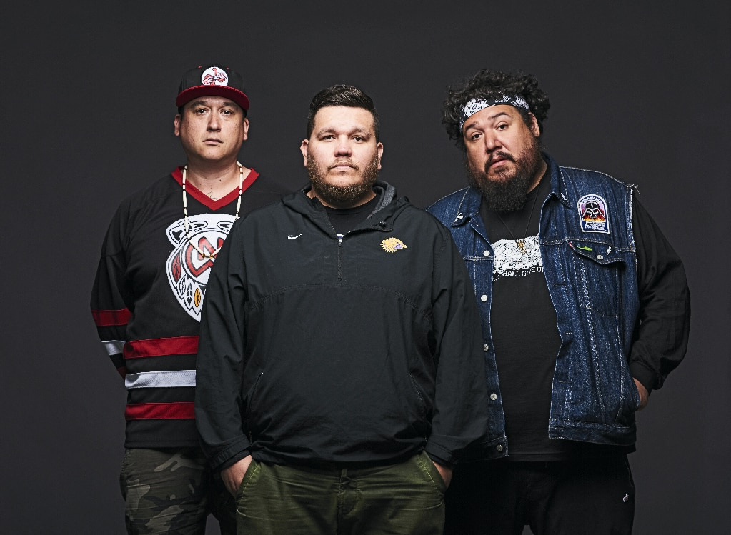 "From left to right: DJ NDN, Tim ""2oolman"" Hill and Bear Witness, a.k.a. A Tribe Called Red."