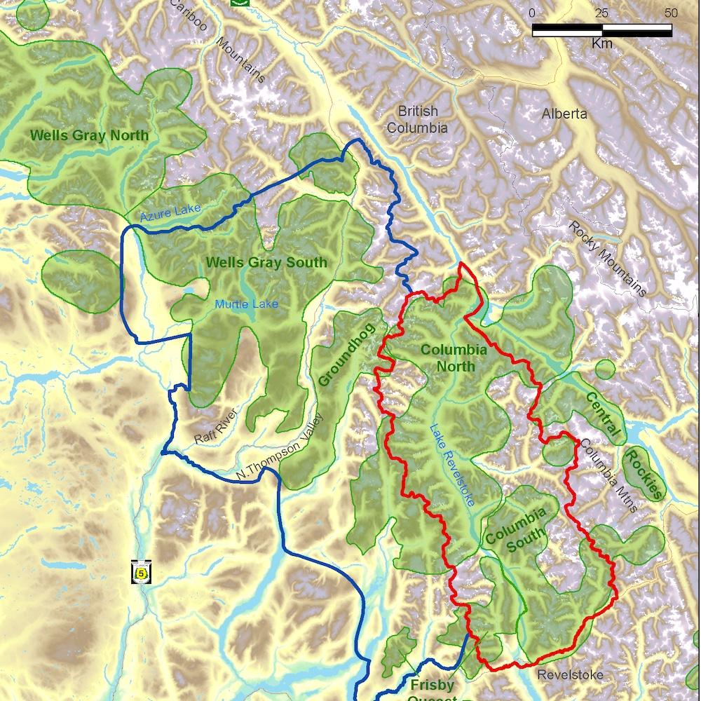 Carte des montagnes Columbia en Colombie-Britannique