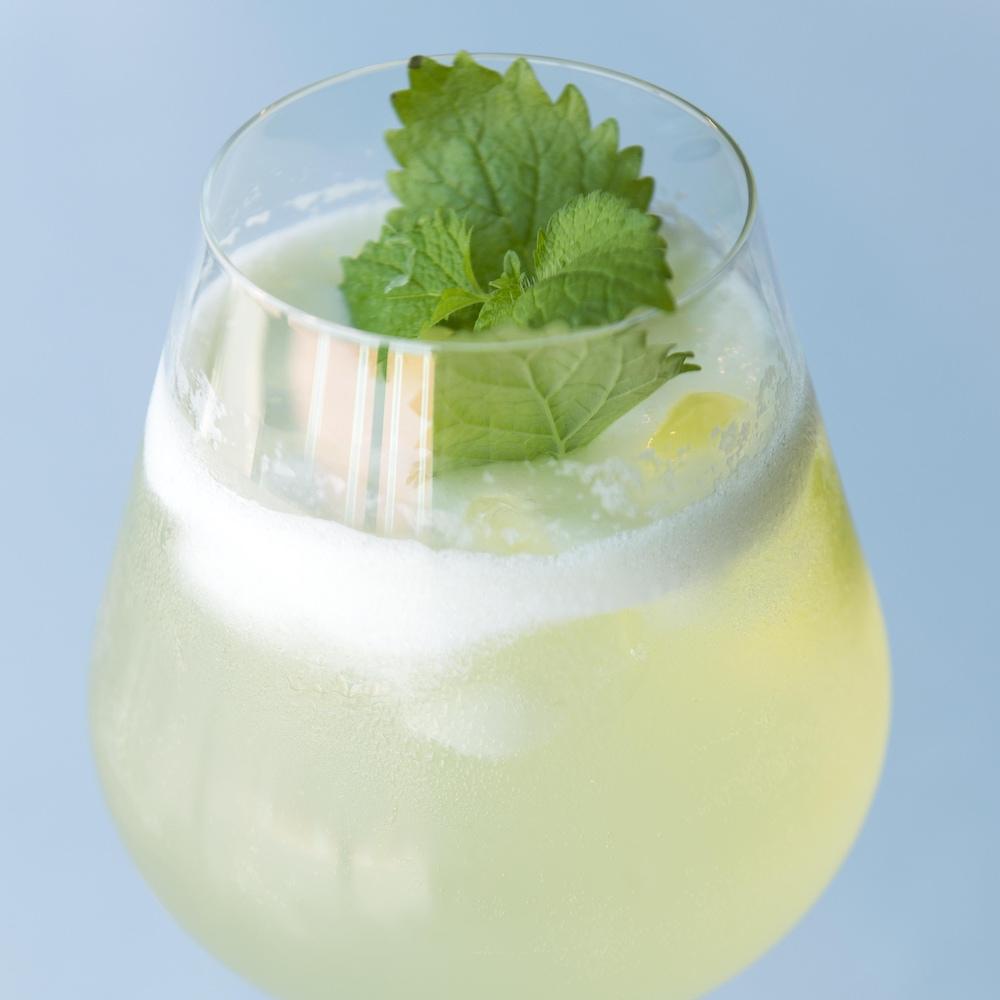 un verre avec une boisson alcoolisée.