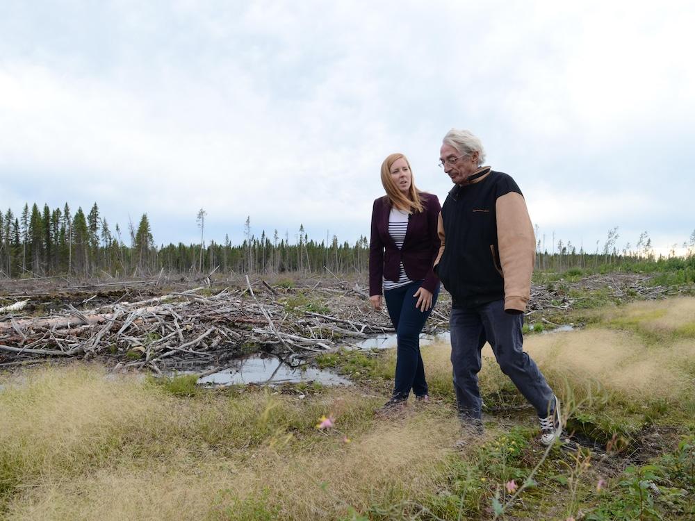 La journaliste Maude Montembeault et l'auteur-compositeur-interprète marchent sur le site d'une coupe forestière.