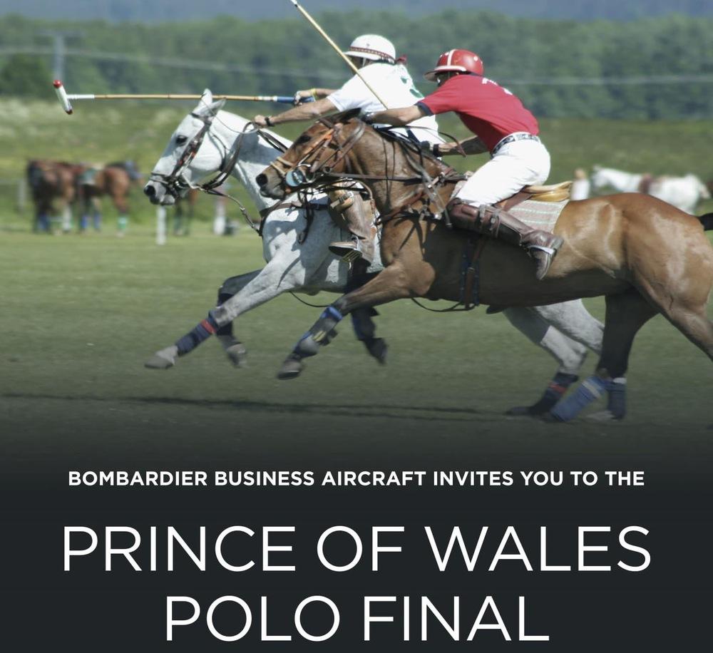 Invitation avec image de joueurs de polo.