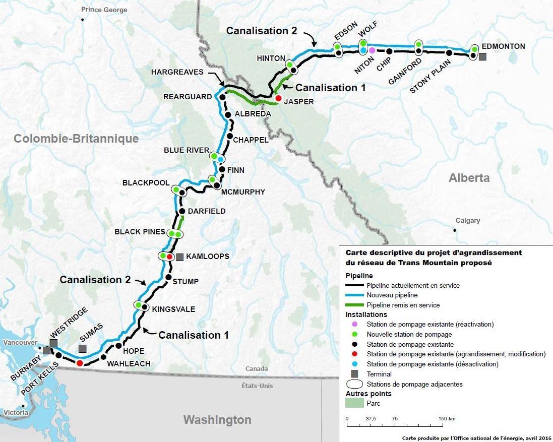Carte du projet d'expansion du pipeline Trans Mountain.