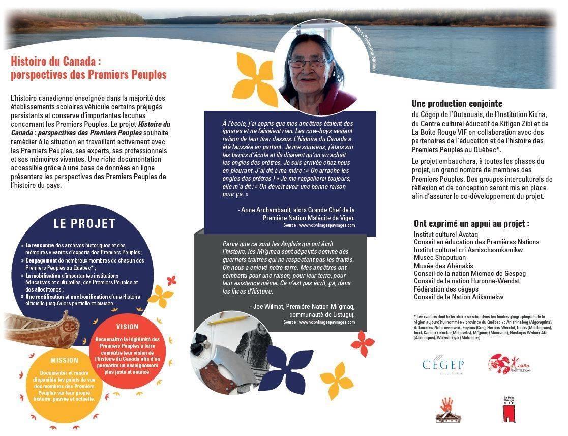 Le projet Histoire du Canada : perspectives des Premiers Peuples, développé par Médérik Sioui