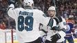 Mikkel Boedker des Sharks a inscrit trois but face aux Oilers