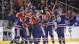 Les Oilers célèbrent leur victoire face aux Panthers de la Floride.
