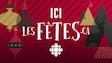 Un dessin de boule de Noël et de sapins pour la promotion du portail ICI les Fêtes de Radio-Canada.