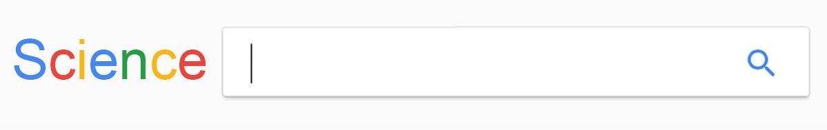 Capture d'écran modifiée de Google, où le logo Google est remplacé par le mot «Science».