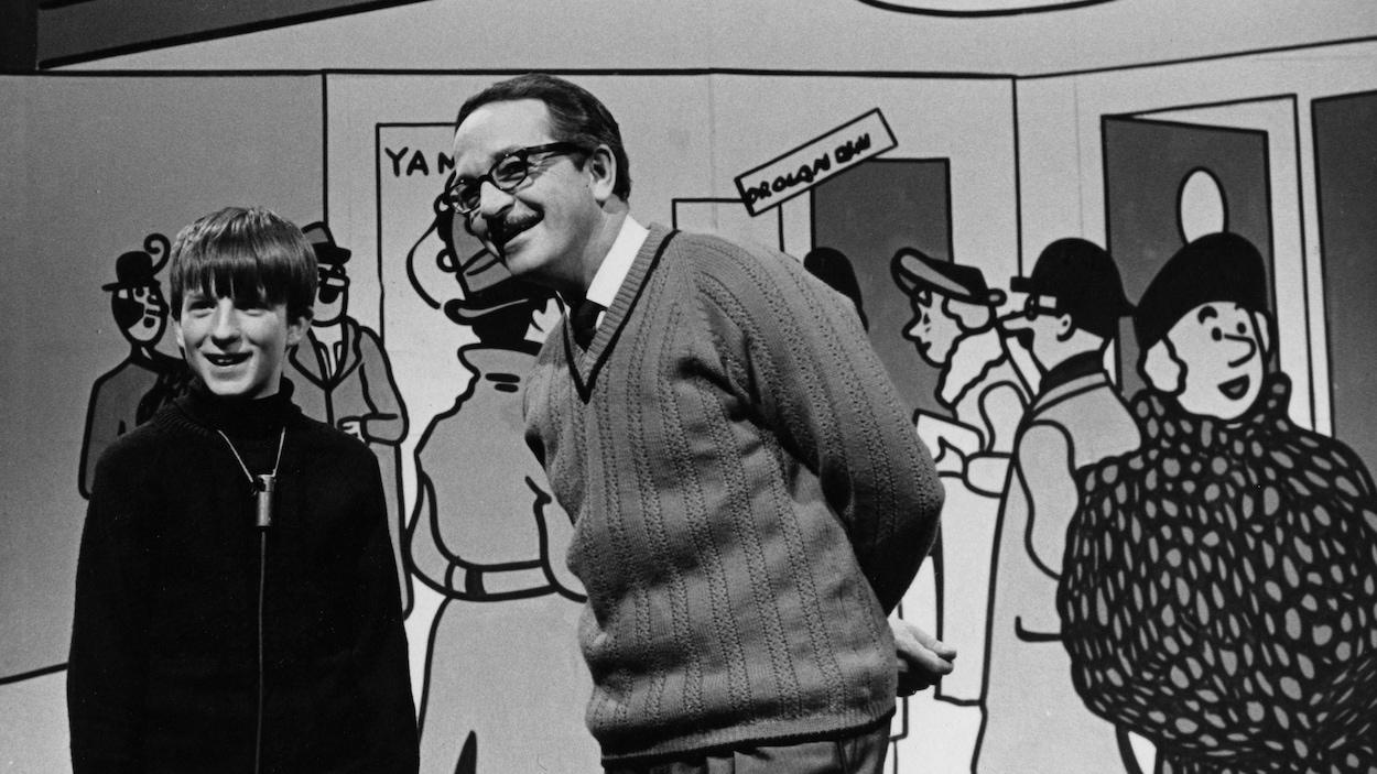 Raymond Charrette et Denis Therien sur le plateau de Tous Pour Un en 1967.