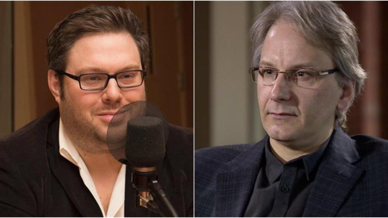 Le sociologue et chroniqueur Mathieu Bock-Côté (à gauche) et le professeur de sciences politiques à l'Université de l'Alberta Frédéric Boily.