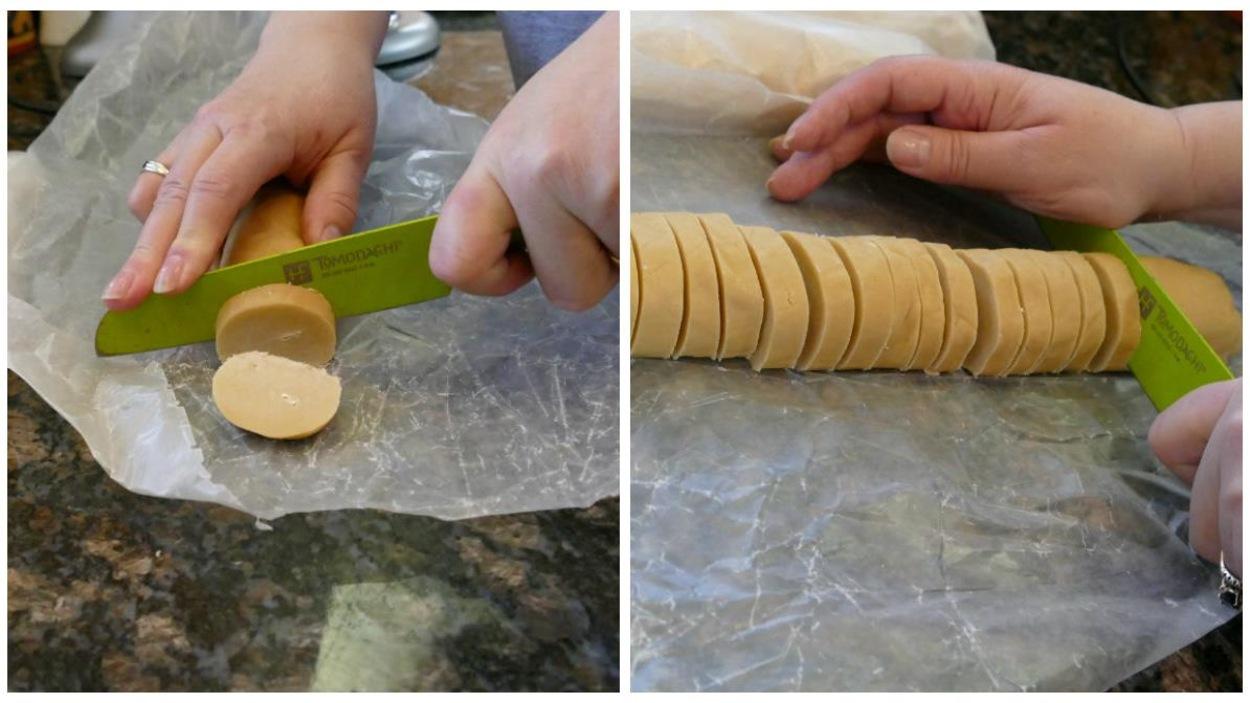 Couper des rondelles de biscuits.