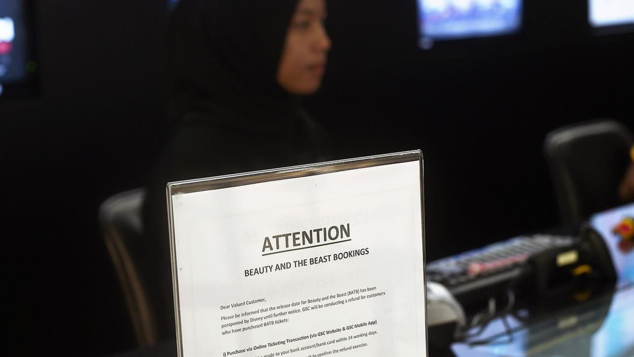 En Malaisie, un avis signale que la sortie du film «La Belle et la Bête» est reportée