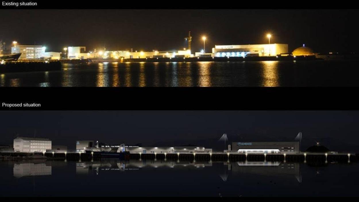 Un exemple d'éclairage mieux adapté à l'hiver : la compagnie Verkis en Islande souhaite remplacer l'éclairage assez agressant près du vieux port de Reykjavik (image du haut) pour quelque chose de plus tamisé et agréable pour les piétons le soir (image du bas).