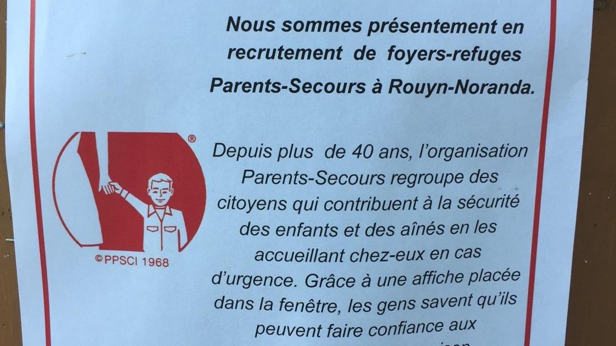 Le comité Parents-Secours de Rouyn-Noranda est à la recherche de foyers-refuges.