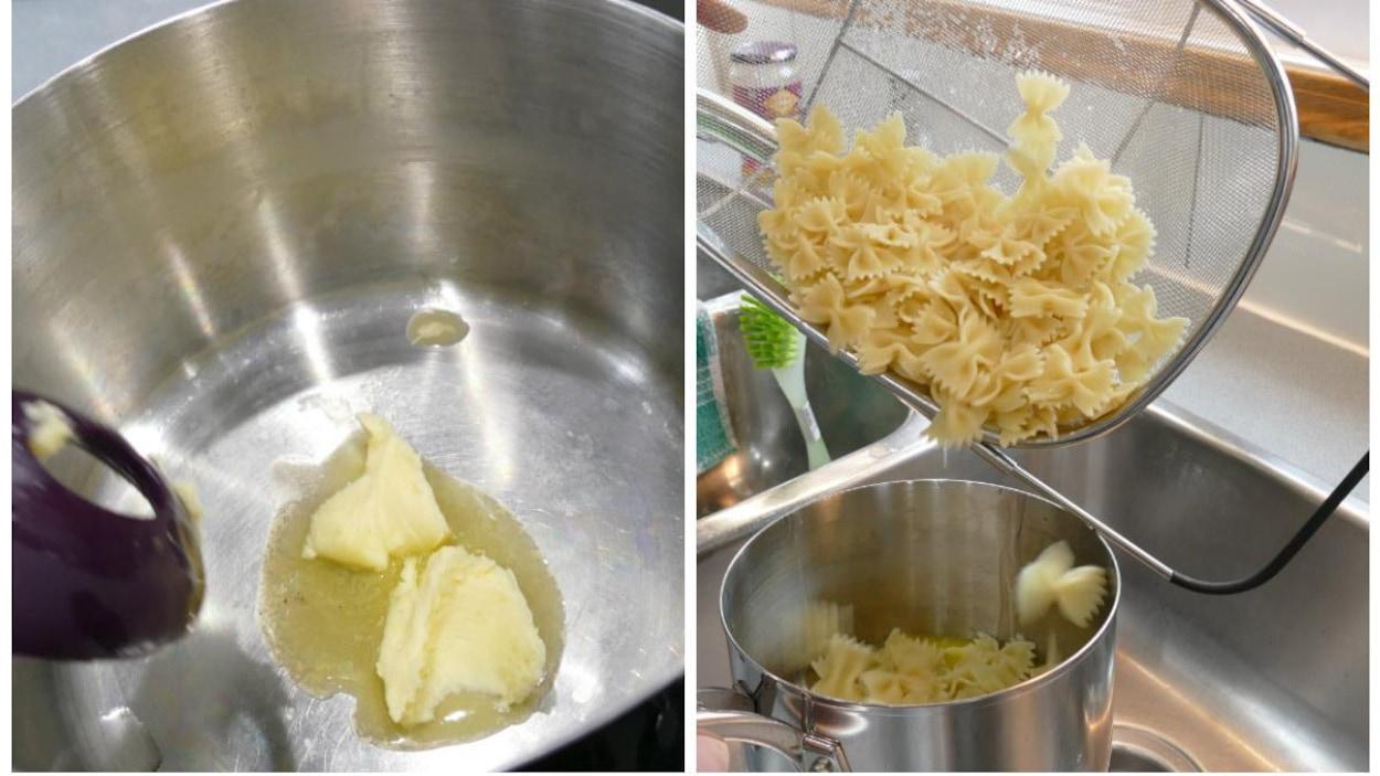 Les pâtes et le beurre.