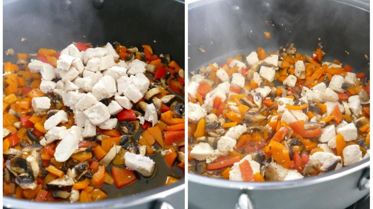 Poulet et légumes.