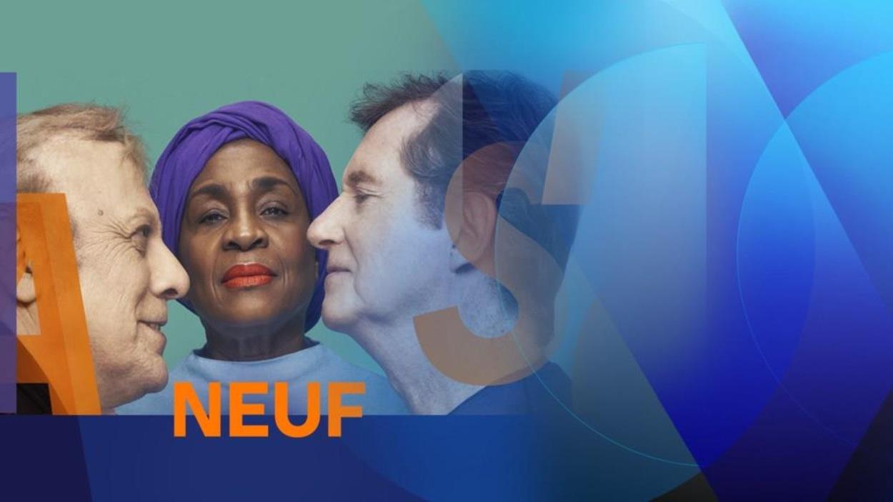 Affiche de deux hommes entourent une femme avec le mot Neuf écrit sous leur visage.