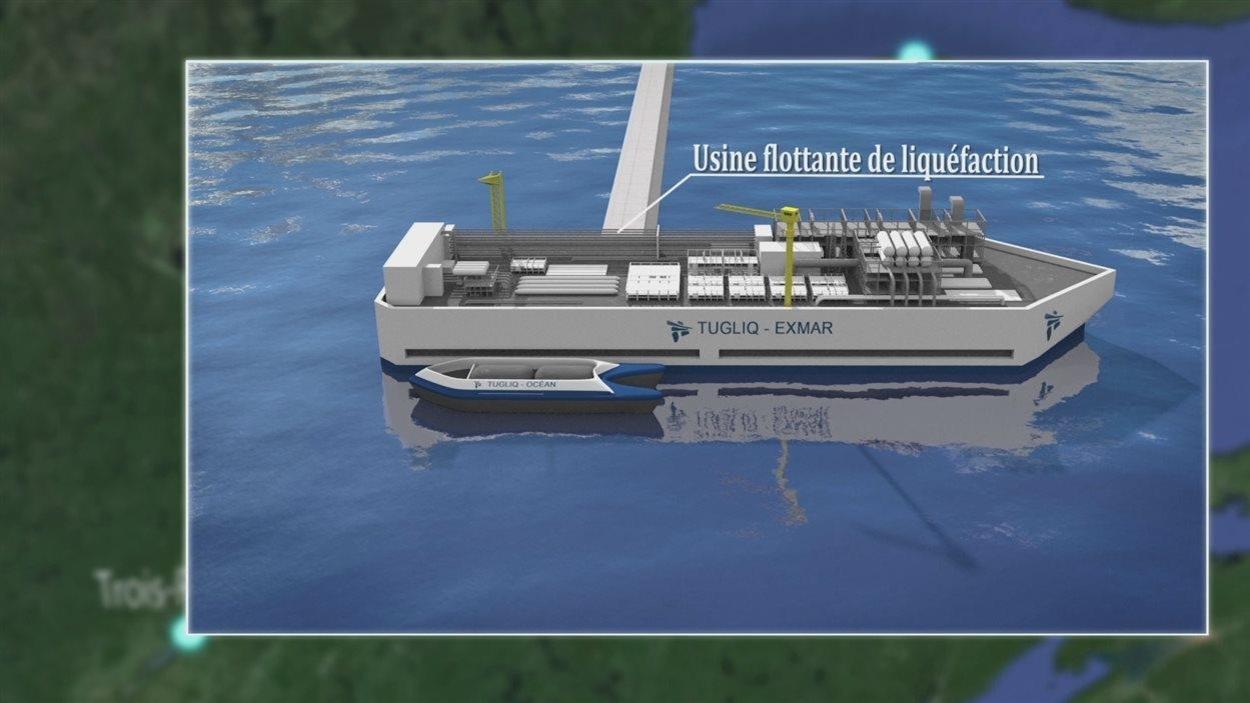 Une maquette de l'usine flottante de Tugliq