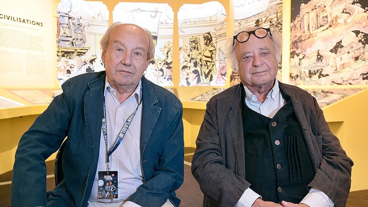 Les créateurs des bandes dessinées Valérian, Jean-Claude Mézières et Pierre Christin