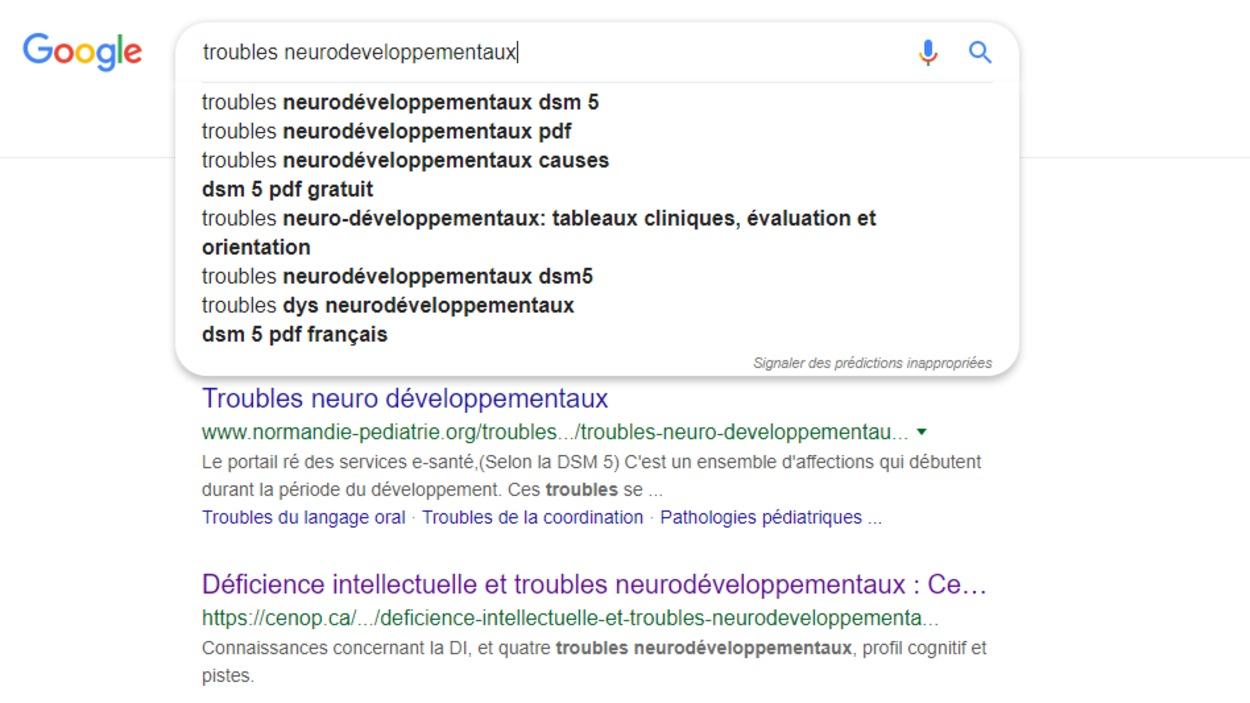Une page internet Google avec des listes de recherches.