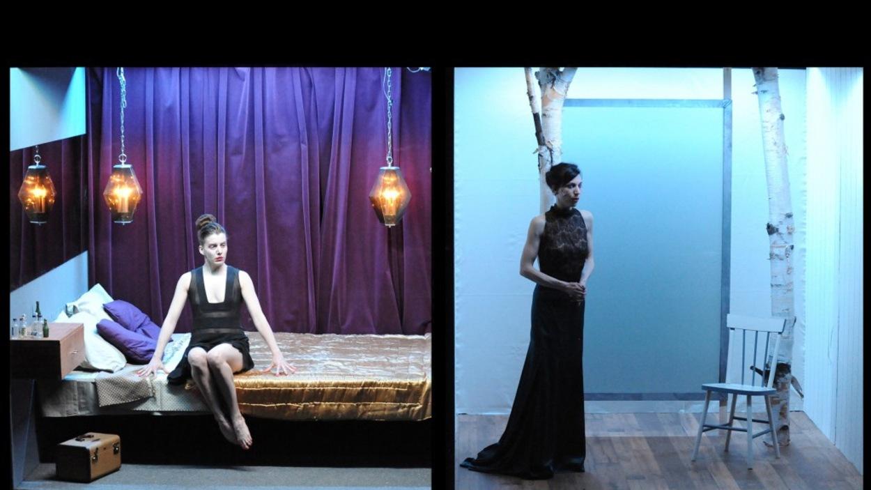 Anne Thériault et Evelyne de la Chenelière dans <em>La fureur de ce que je pense</em>, d'après Nelly Arcan, dans une mise en scène de Marie Brassard