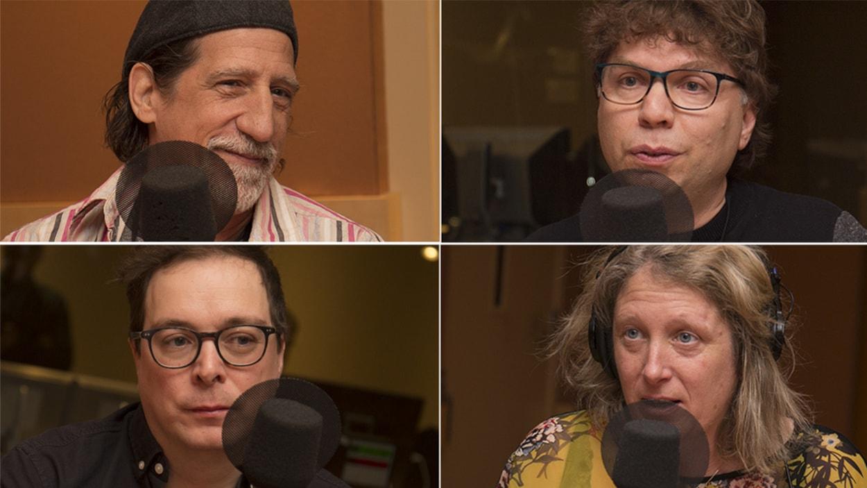 Ati Dion, Martin Geoffroy, Raphaël Bélanger et Émilie Dubreuil répondent aux questions d'Isabelle Craig au studio 18 de Radio-Canada, à Montréal, le 16 avril 2018.