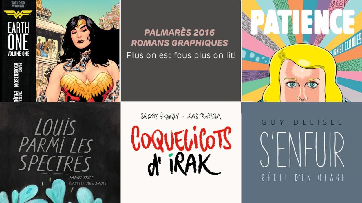 Une partie des couvertures des bandes dessinées romanesques de Yanik Paquette, de Fanny Britt et Isabelle Arsenault, de Brigitte Finkaldy et Lewis Trondheim, de Guy Delisle et Daniel Clowes.