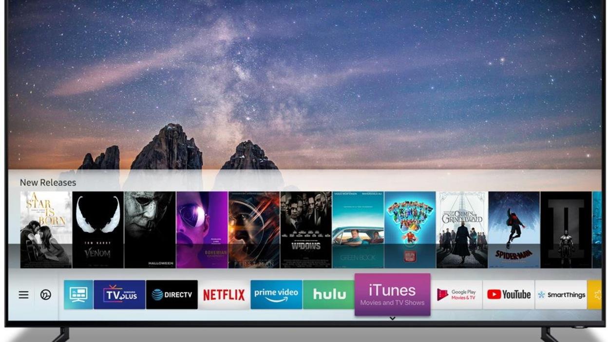 Un téléviseur Samsung avec les logos de diverses applications.