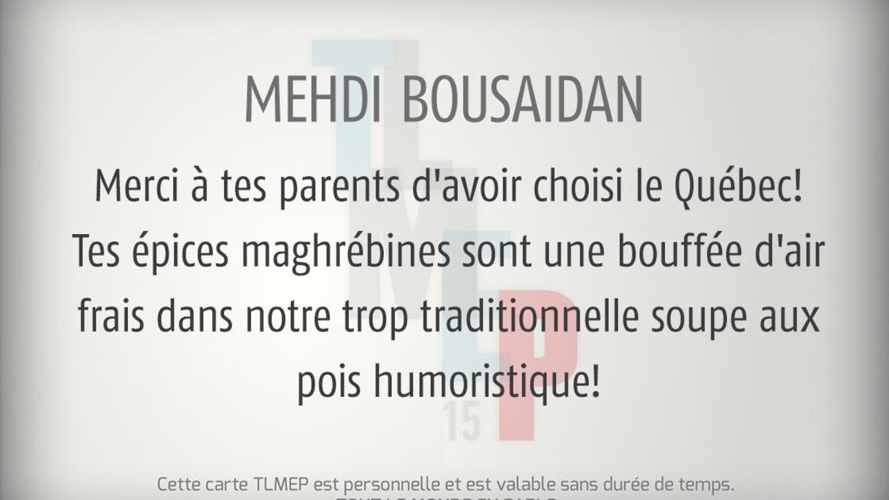 Elle est adressée à Mehdi Bousaidan.