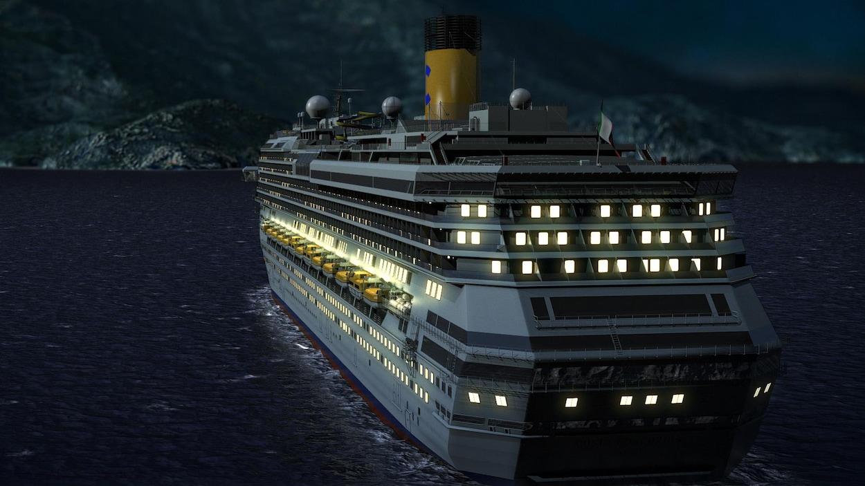 Le bateau vogue durant la nuit.