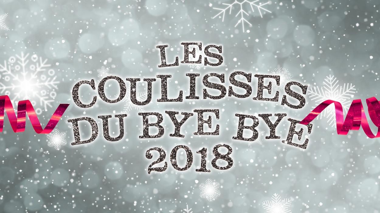 Sur un fond rappelant des flocons de neige, il est inscrit les coulisses du bye bye 2018.
