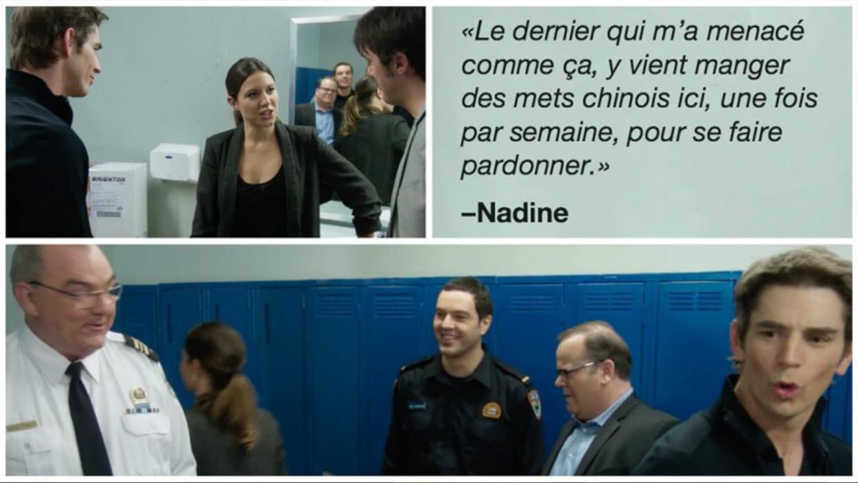 Nadine Legrand qui discutent avec les boys du 31 dans les toilettes.