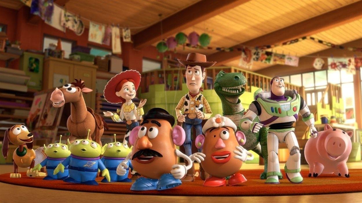 Les personnages de la série des films <i>Histoire de jouets</i>, produits par les studios Pixar