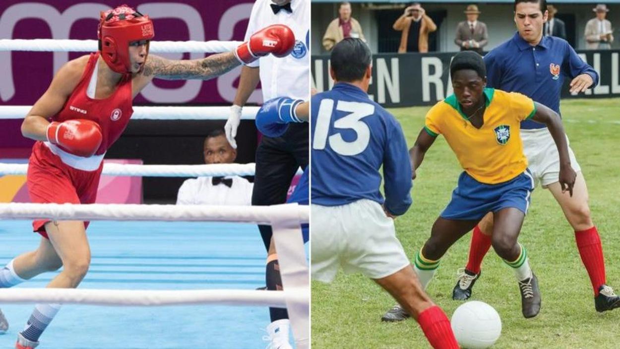 Sur la gauche, la boxeuse Tammara Thibeault sur un ring et à droite, un footballeur brésilien en pleine action.