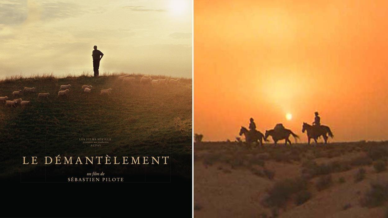 À gauche, l'affiche du film Le démantèlement, à gauche un plan d'un western, où trois silhouettes à cheval avancent sous le soleil couchant.