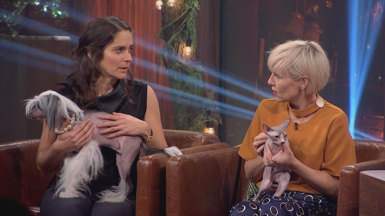 Céline Leheurteux tient un chien chinois à crête et Pénélope McQuade a un sphynx dans ses bras.