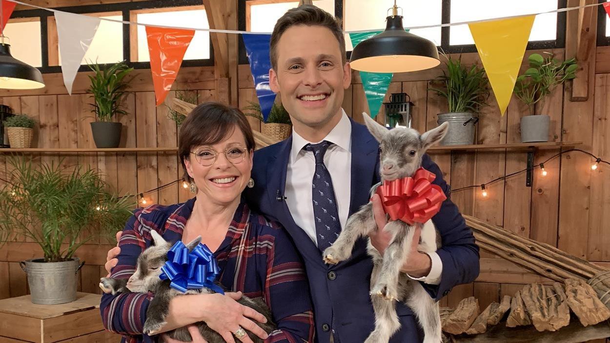 Maude Guérin et Sébastien Kfoury tiennent chacun une chèvre dans leur bras.
