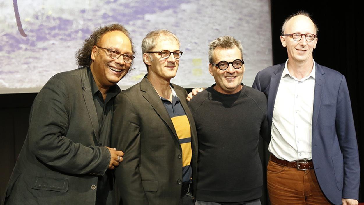 Joséloto Michaud, Claude Desrosiers, Serge Boucher et André Dupuy au visionnement de presse.