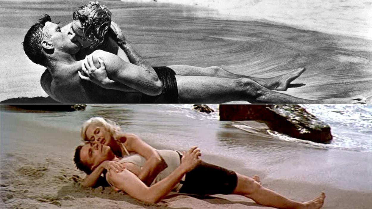 Un couple enlacé sur la plage, la même scène reproduite en couleurs en bas.