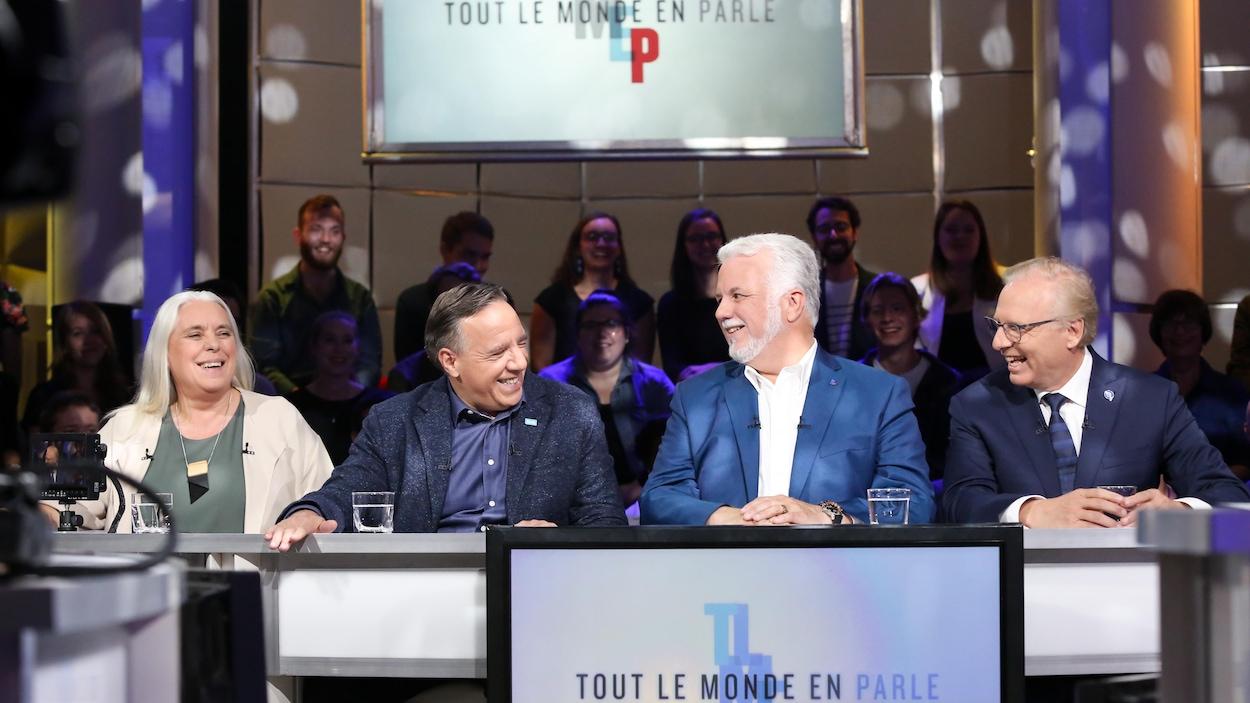 De gauche à droite : Manon Massé, François Legault, Philippe Couillard et Jean-François Lisée.