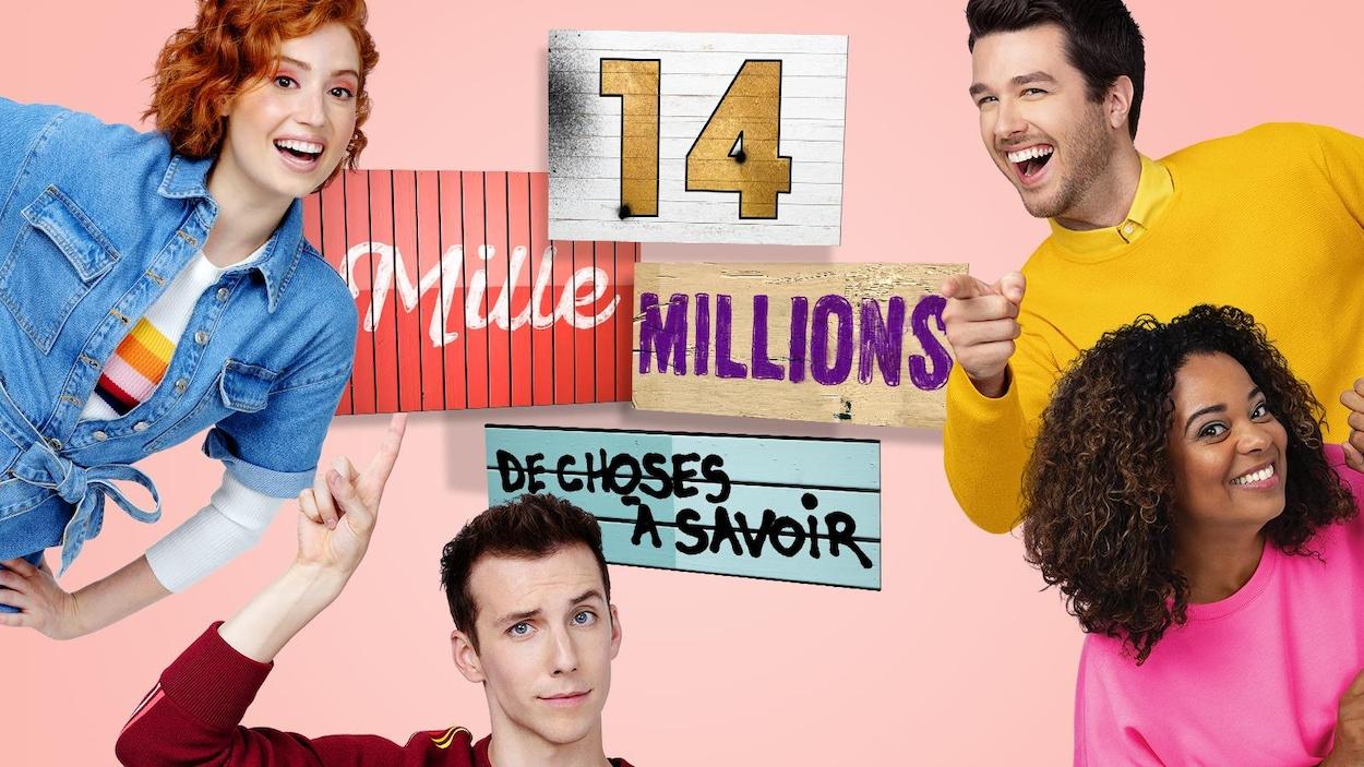 Les quatre animateurs sourient