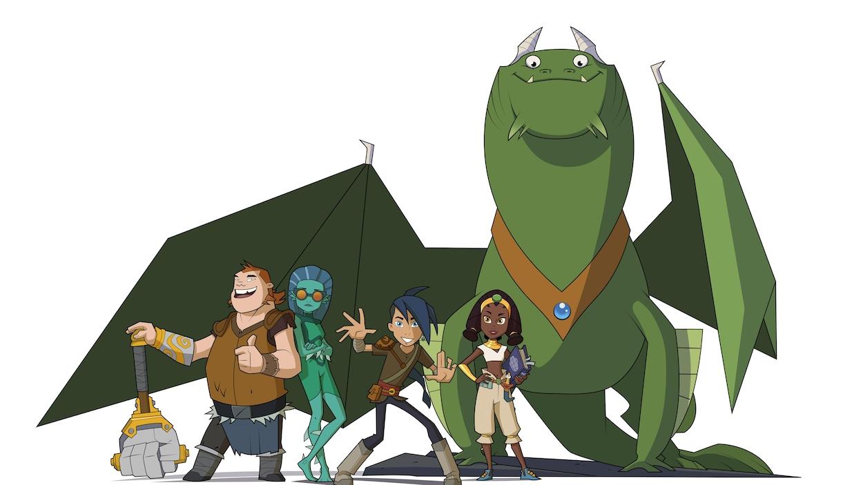 On voit les 5 amis et le dragon