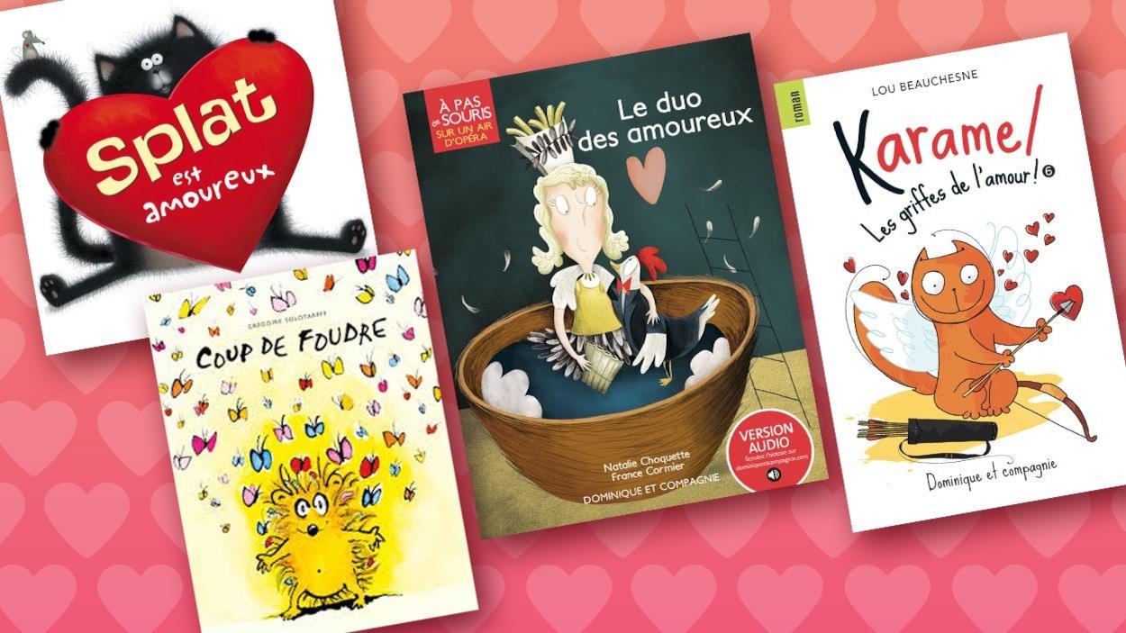 Montage avec les pages couverture des livres : Splat est amoureux, Coup de foudre, Le duo des amoureux, Karamel les griffes de l'amour.