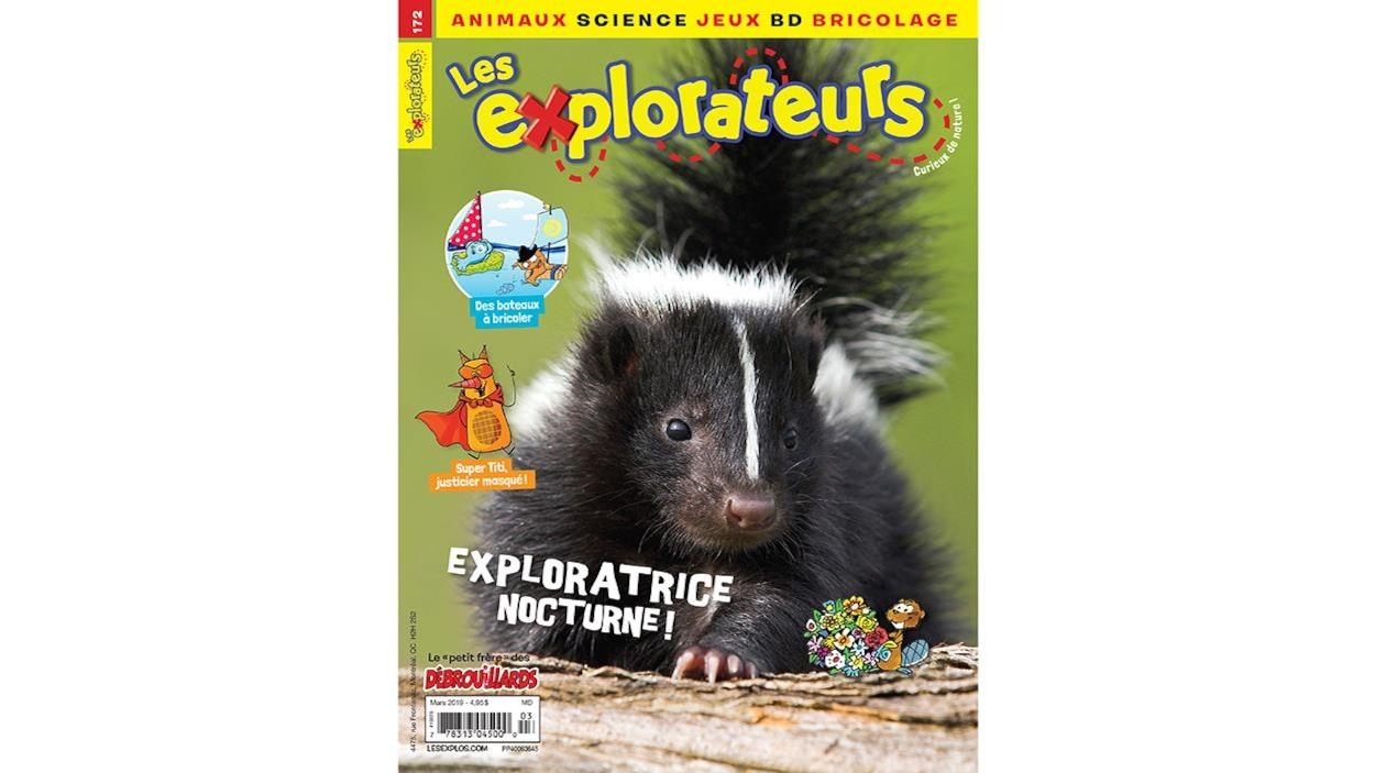 Page couverture du magazine Les explorateurs illustrant une mouffette : exploratrice nocturne!