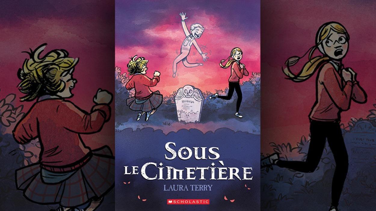 Couverture du livre où un fantôme joyeux émerge d'une pierre tombale.