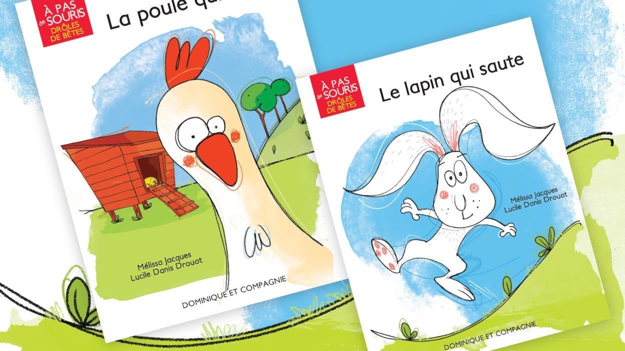 Pages couvertures des livres La poule qui roule et Le lapin qui saute.
