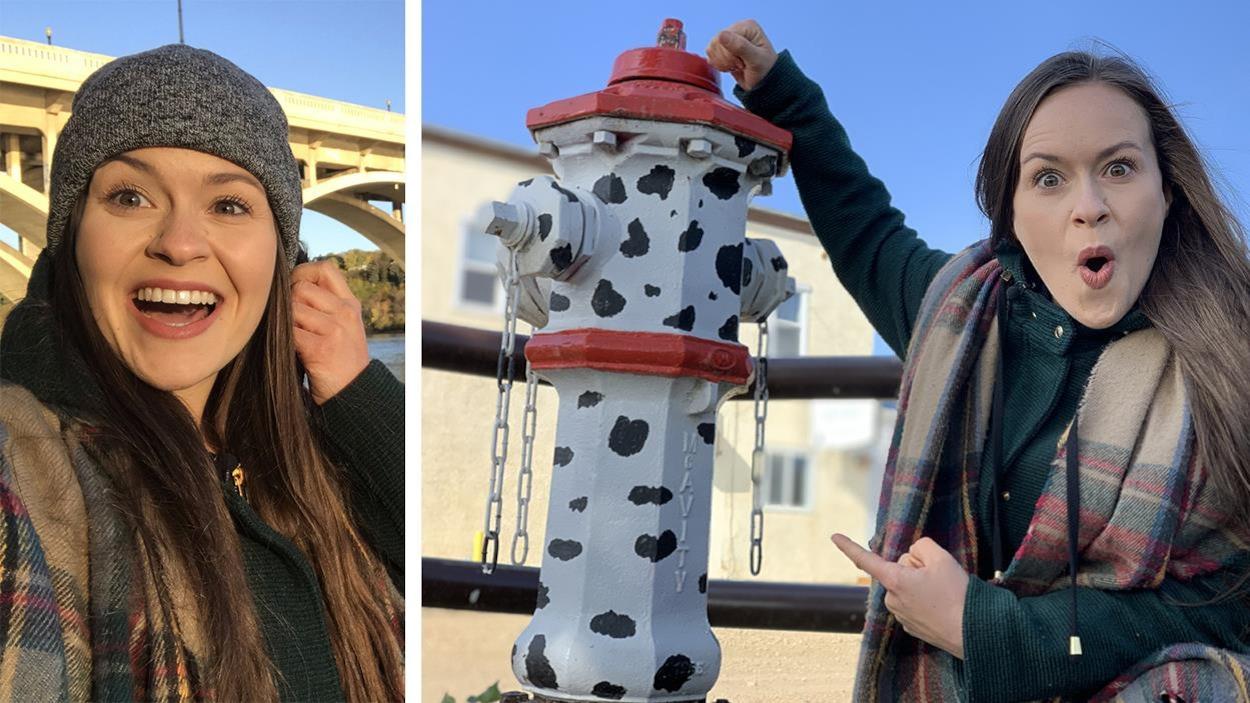 L'animatrice d'Oniva nous montre une borne incendie décorée avec des tâches de dalmatien